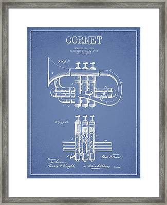 Cornet Patent Drawing From 1901 - Light Blue Framed Print by Aged Pixel