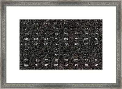 72 Names Of God Framed Print by James Barnes