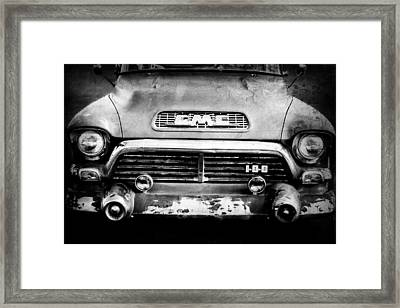 1957 Gmc V8 Pickup Truck Grille Emblem Framed Print by Jill Reger