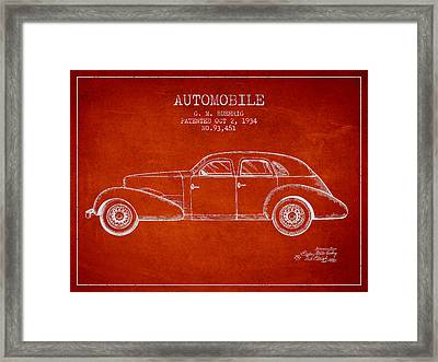 Cord Automobile Patent From 1934 Framed Print by Aged Pixel