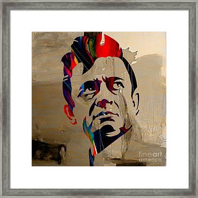 Johnny Cash Framed Print by Marvin Blaine