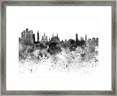Moscow Skyline White Background Framed Print by Pablo Romero