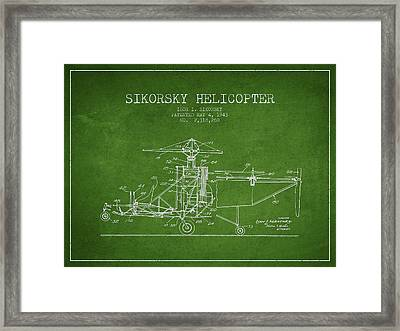 Sikorsky Helicopter Patent Drawing From 1943 Framed Print by Aged Pixel