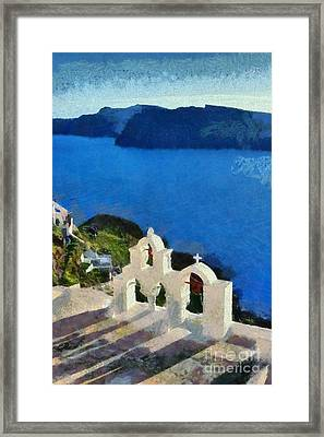 Traditional Belfry In Santorini Island Framed Print by George Atsametakis