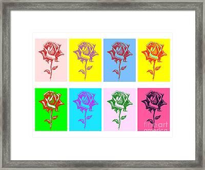 8 Warhol Roses By Punt Framed Print by Gordon Punt