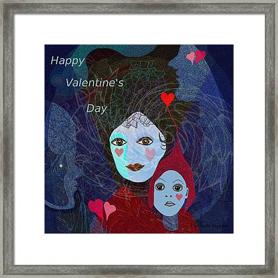 830 - Happy Valentines Day Framed Print by Irmgard Schoendorf Welch