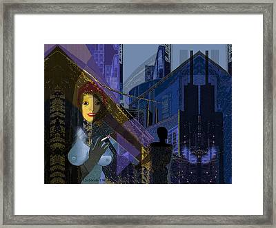 831 - Big City Darkness Framed Print by Irmgard Schoendorf Welch