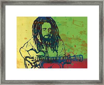 Bob Marley Stylised Pop Art Drawing Potrait Poser Framed Print by Kim Wang