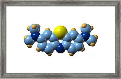 Methylene Blue, Molecular Model Framed Print by Dr. Mark J. Winter