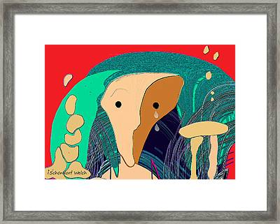 903 - Crying Stone   Framed Print by Irmgard Schoendorf Welch