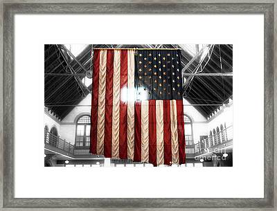 911 Flag Framed Print by John Rizzuto