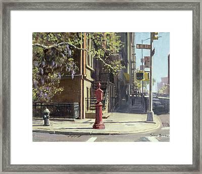 91st Street At Lexington Avenue Oil On Canvas Framed Print by Julian Barrow