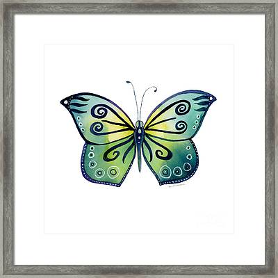 92 Teal Button Cap Butterfly Framed Print by Amy Kirkpatrick