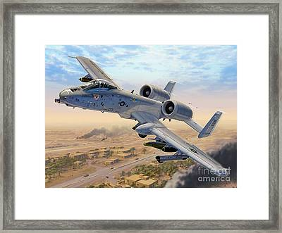A-10 Over Baghdad Framed Print by Stu Shepherd