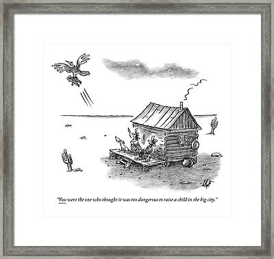 A Back Country Couple Sit On Their Porch Framed Print by Frank Cotham