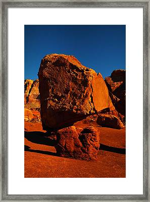 A Balanced Rock Framed Print by Jeff Swan