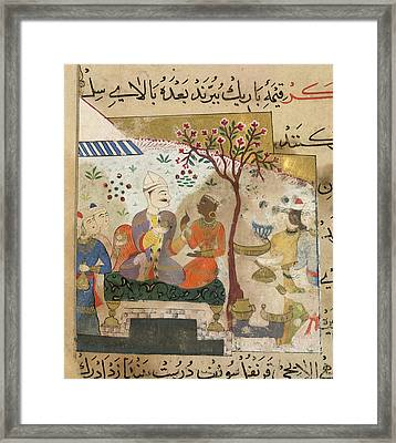 A Banquet Being Served Framed Print by British Library
