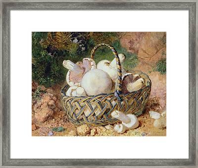 A Basket Of Mushrooms, 1871 Framed Print by Jabez Bligh