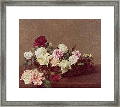 A Basket Of Roses Framed Print by Ignace Henri Jean Fantin-Latour