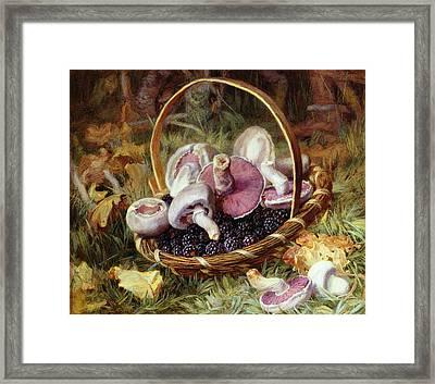 A Basket Of Wild Mushrooms Framed Print by Jabez Bligh