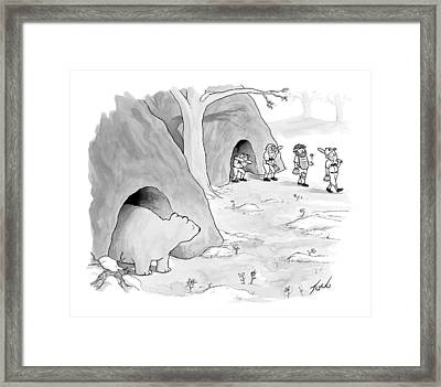 A Bear Emerges From A Cave Framed Print by Tom Toro
