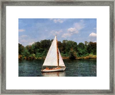 A Beautiful Day For A Sail Framed Print by Susan Savad