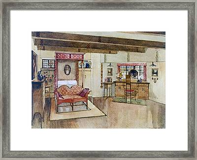 A Bedroom In The Arts & Crafts Style Framed Print by Tom Merry