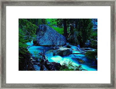 A Big Rock On The Way To Carter Falls Framed Print by Jeff Swan