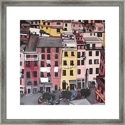 A Bird's Eye View Of Cinque Terre Framed Print by Quin Sweetman