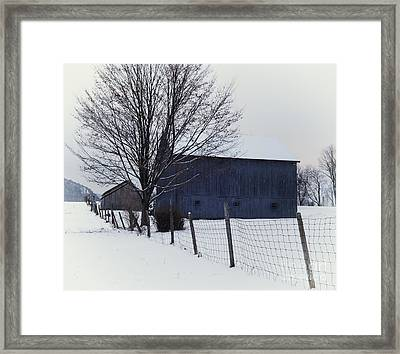 A Blue Barn - The Scenic Berkshires Framed Print by Thomas Schoeller