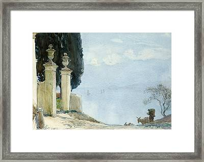A Blue Day On Como Framed Print by Joseph Walter West