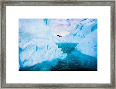 A Blue Lagoon - Antarctica Iceberg Photograph Framed Print by Duane Miller