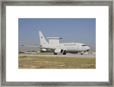 A Boeing 737 Aew&c Of The Turkish Air Framed Print by Giovanni Colla