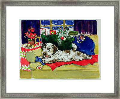 A Bone For Christmas Framed Print by Diane Matthes