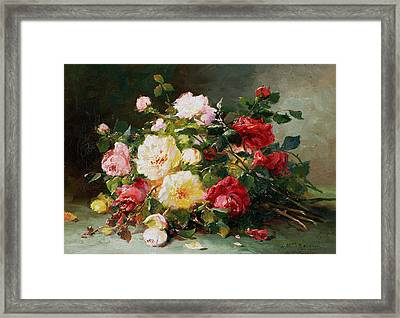 A Bouquet Of Roses Framed Print by Eugene Henri Cauchois