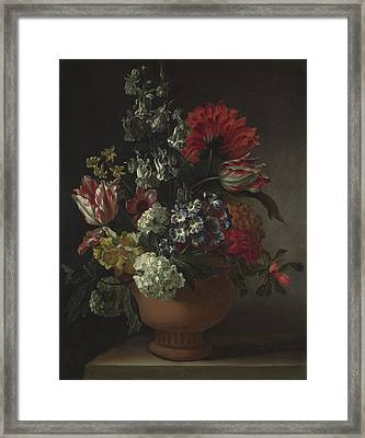 A Bowl Of Flowers Framed Print by Marie Blancour