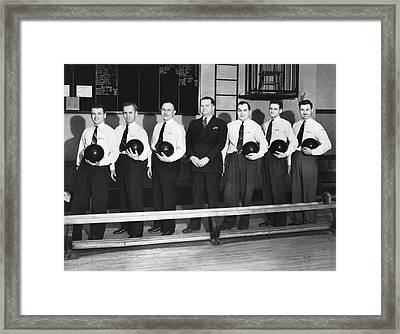 A Bowling Team With Balls Framed Print by Underwood Archives