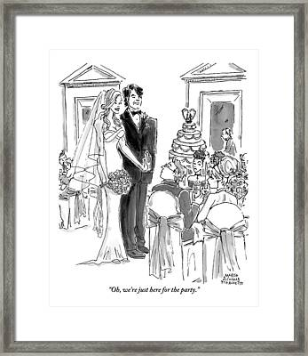 A Bride And Groom To The Guests At Their Wedding Framed Print by Marisa Acocella Marchetto