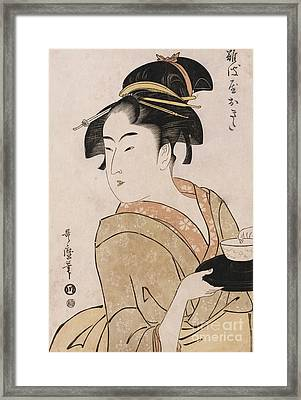 A Bust Portrait Of The Waitress Okita Of The Naniwaya Teahouse Framed Print by Kitagawa Utamaro