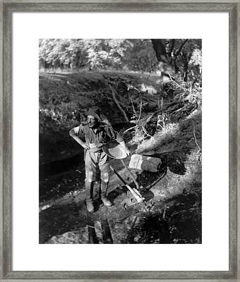 A California Gold Miner Framed Print by Underwood Archives