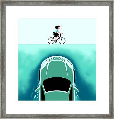 A Car Emerges From The Deep Toward A Bicyclist Framed Print by Christoph Niemann
