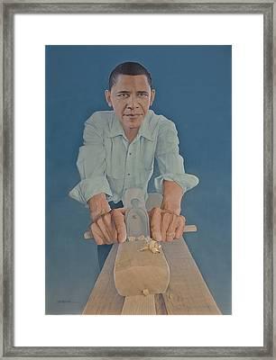 A Carpenter Chinese Citizen Barack Obama  Framed Print by Tu Guohong