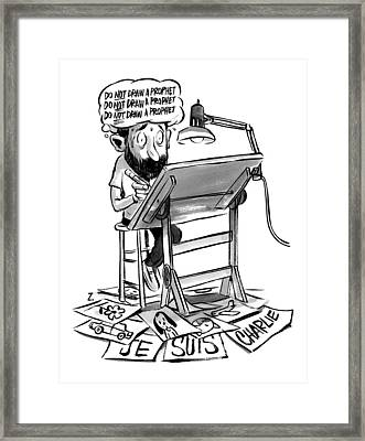 A Cartoonist Sits At His Desk Drawing. A Thought Framed Print by Zohar Lazar