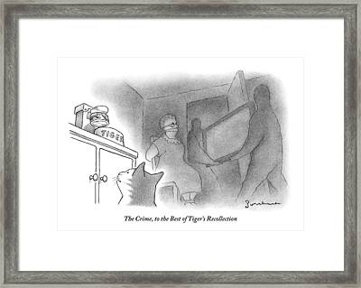 A Cat Is Looking At His Bowl While His Owner Framed Print by David Borchart