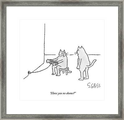 A Cat Sitting On A Stool Outside A Hole Framed Print by Sam Gross