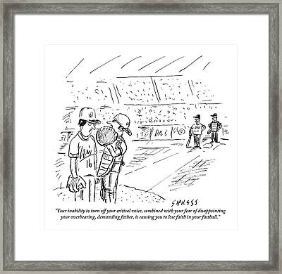 A Catcher Speaks To A Baseball Player Framed Print by David Sipress