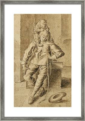A Cavalier With A Monkey Framed Print by Gottfried Libalt