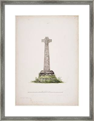 A Celtic Stone Cross In Scotland Framed Print by British Library