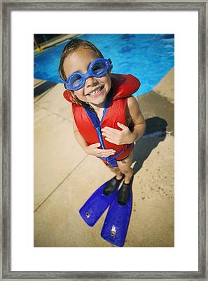 A Child Ready To Go Swimming Framed Print by Kelly Redinger