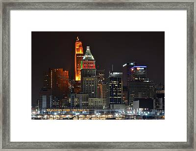 A Cincinnati Night Framed Print by Frozen in Time Fine Art Photography